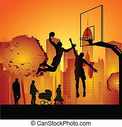 streetball - vector of a streetball scene
