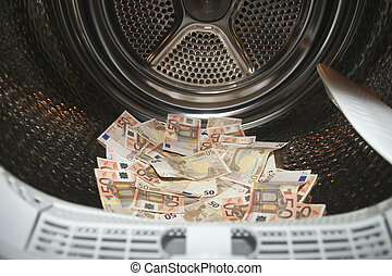 Money laundering in washer