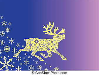 Christmas deer with snowflekes - Christmas deer on the...