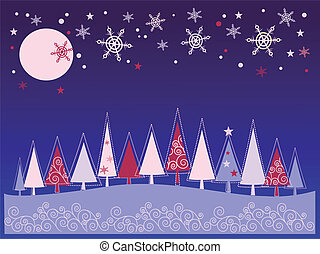 Christmas greeting card with tree and snow