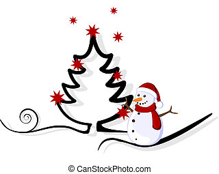 christmas card - vector illustration of a little snowman and...