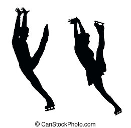 Silhouette Ice Skater Couple High Kick - Silhouette of Ice...