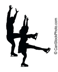 Silhouette Ice Skater Couple Front Kick