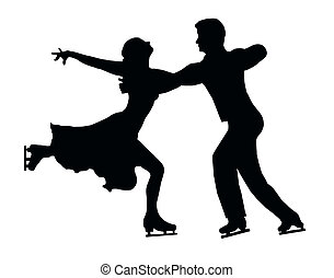 Silhouette Ice Skater Couple Embrace Back Kick - Silhouette...