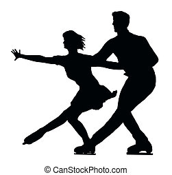 Silhouette Ice Skater Couple Side by Side