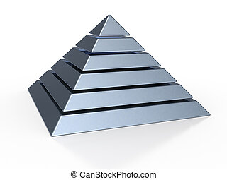 pyramid with six colored levels - 3d illustration of a...