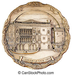 souvenir plate depicting the Venice, isolated on white...