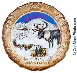 souvenir plate depicting the Lapland - Finland, isolated on...