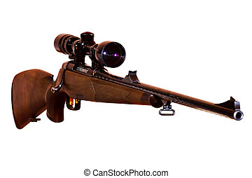 sniper rifle with telescopic sight, isolated on white...