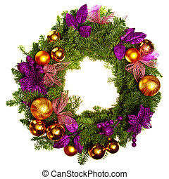 christmas wreath with flowers isolated over white background