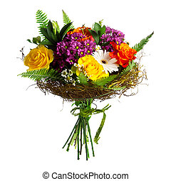 hermoso, bouqet, rosas, gerberas