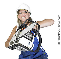 aggressive weird chain saw girl - Studio photography of a...
