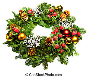 christmas wreath with toys isolated over white background