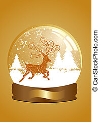 christmas roe deer - vector illustration of a roe deer in a...