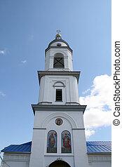 Bell tower of women monastery in Maloyaroslavets Russia