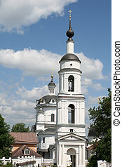 Bell tower of women monastery in Maloyaroslavets Russia
