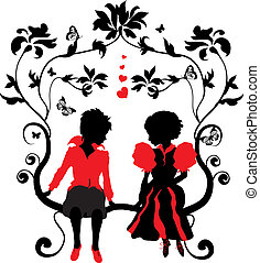 Silhouette little girl and boy with hearts illustration