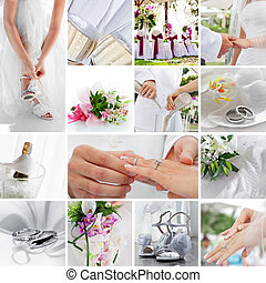 wedding theme collage composed of different images