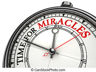 time for miracles clock closeup - time for miracles concept...