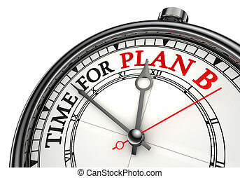 time for plan b concept clock closeup on white background...