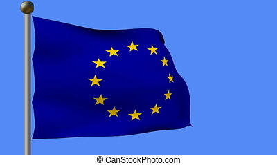flag of european union in blue sky - animation of flag of...