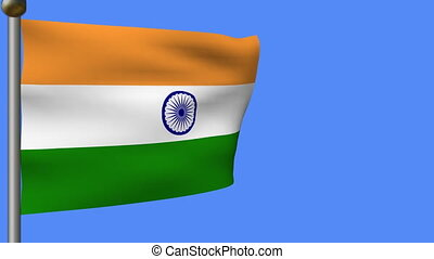 flag of india in blue sky - Animation of flag of india on...