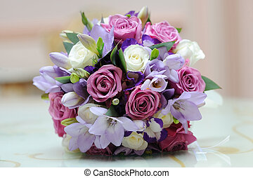 Brides colourful bouquet. - Brides colourful bouquet on a...