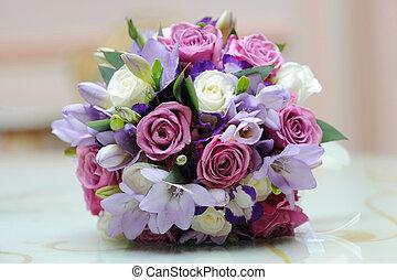 Brides colourful bouquet. - Brides colourful bouquet on a...