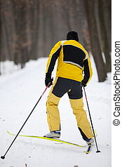 Cross-country skiing man