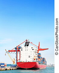 Ship under blue sky - Red container ship under large blue...