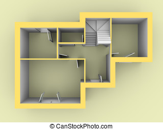3d model of a house as seen from top view Doors and windows...