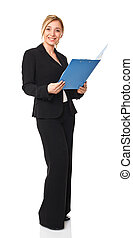 businesswoman - standing caucasian businesswoman isolated on...