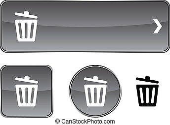 Recycle bin button set - Recycle bin web buttons Vector...