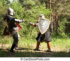 knights  is fighting  at forest