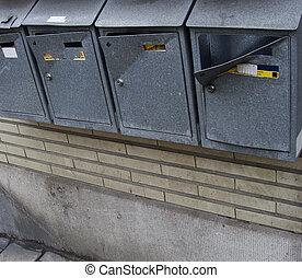 vandalized mail boxes in a row...