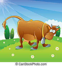 Cow Illustration Cartoon - cartoon illustration of cow at...