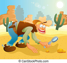 Cowboy Find The Gold - cartoon illustration of cowboy...