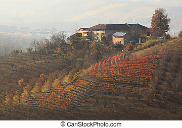 House on the hill. Piedmont, Northern Italy. - House on top...