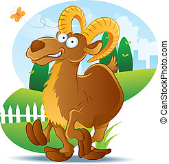 Goat Illustration Cartoon - cartoon illustration of goat at...