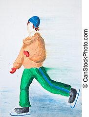 Skater watercolor drawing