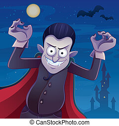Dracula Cartoon - cartoon illustration of dracula for your...