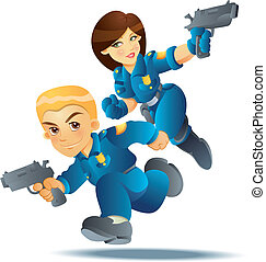 Police Officer in Action - cartoon illustration of police...