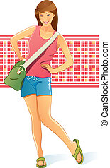 Traveling Girl with Bag