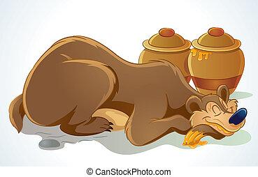Sleeping Bear - cartoon illustration of sleeping bear after...
