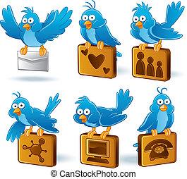 Social Media Network BlueBird - cartoon illustration of...