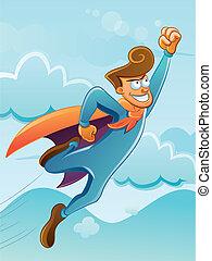 Flying Super Hero - cartoon illustration of flying super...