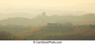 Haze over the hills. Piedmont, Northern Italy. - Panoramic...