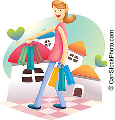 Cute Shopping Girl - cartoon illustration of cute shopping...
