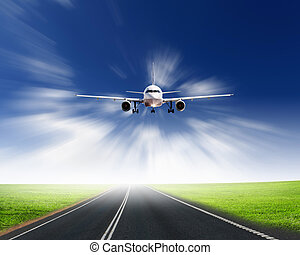 Airplane in blue cloudy sky - Image of airplane in blue...