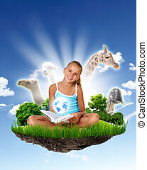 School girl and education objects and symbols - Collage of...